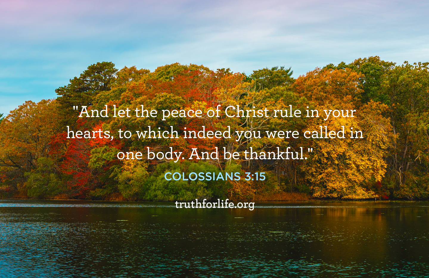 And let the peace of Christ rule in your hearts, to which indeed you were called in one body. And be thankful. - Colossians 3:15