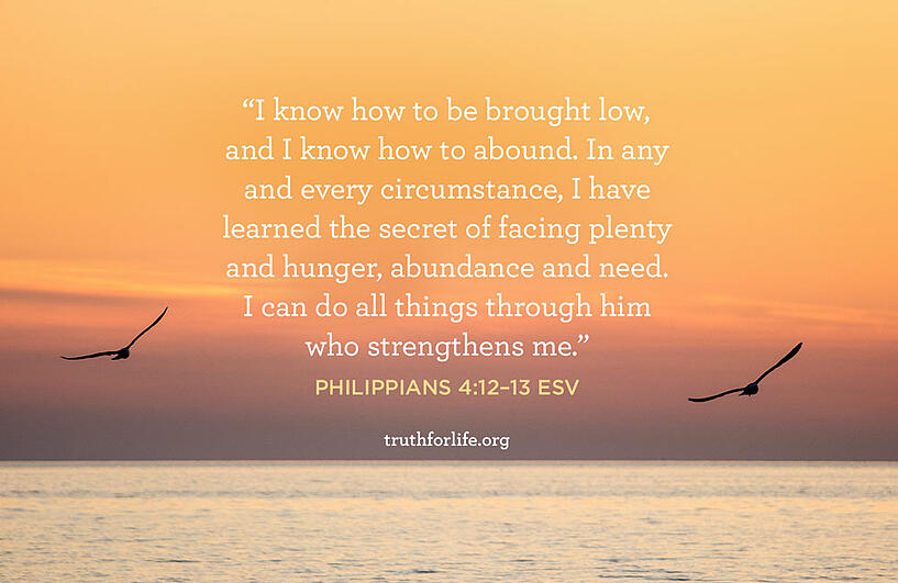 I know how to be brought low, and I know how to abound. In any and every circumstance, I have learned the secret of facing plenty and hunger, abundance and need. I can do all things through him who strengthens me. - Philippians 4:12–13 ESV