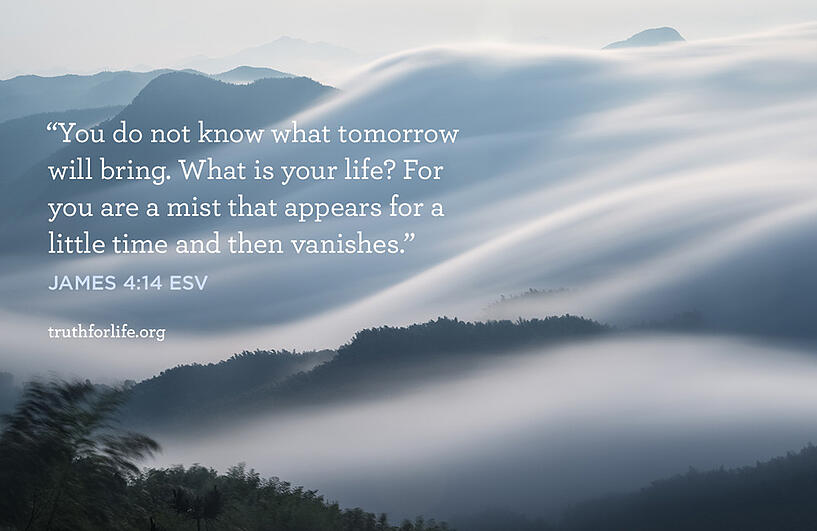 You do not know what tomorrow will bring. What is your life? For you are a mist that appears for a little time and then vanishes. - James 4:14