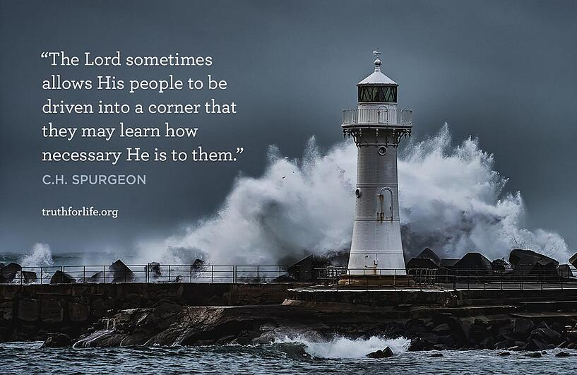 The Lord sometimes allows His people to be driven into a corner that they may learn how necessary He is to them. - C.H. Spurgeon