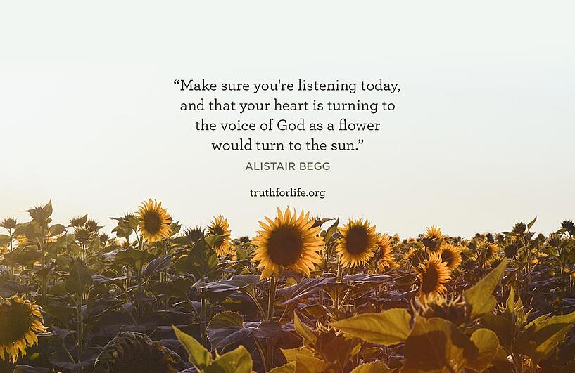 Make sure you're listening today, and that your heart is turning to the voice of God as a flower would turn to the sun. - Alistair Begg