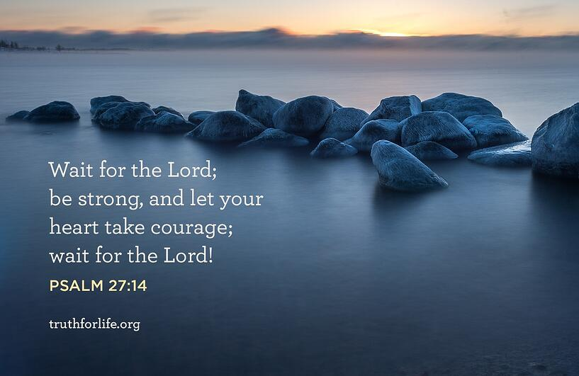 Wait for the Lord; be strong, and let your heart take courage; wait for the Lord! - Psalm 27:14